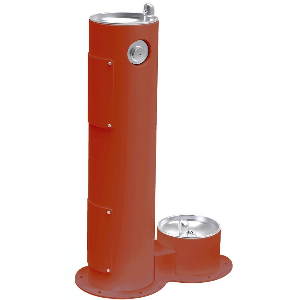 Elkay Outdoor Pedestal Drinking Fountain with Pet Fountain Terracotta