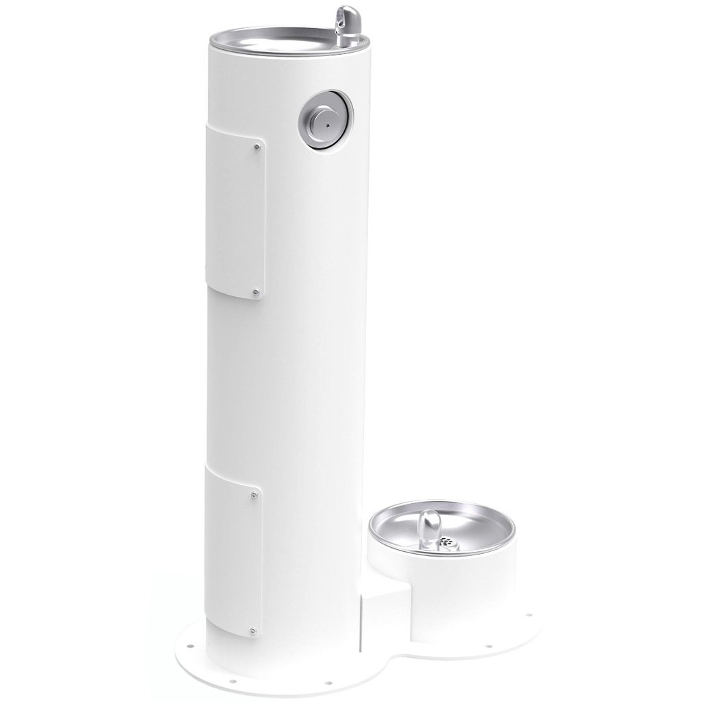 Elkay Outdoor Pedestal Drinking Fountain with Pet Fountain White