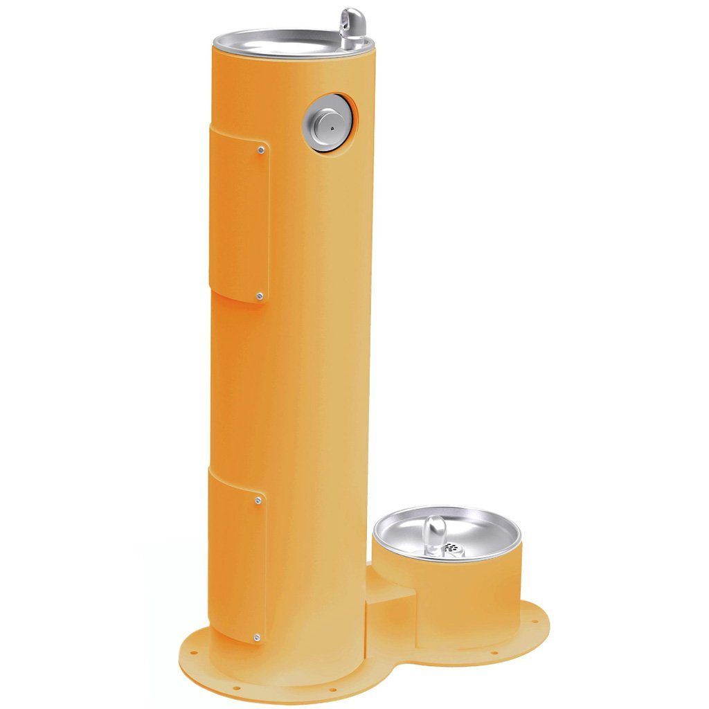 Elkay Outdoor Pedestal Drinking Fountain with Pet Fountain Yellow