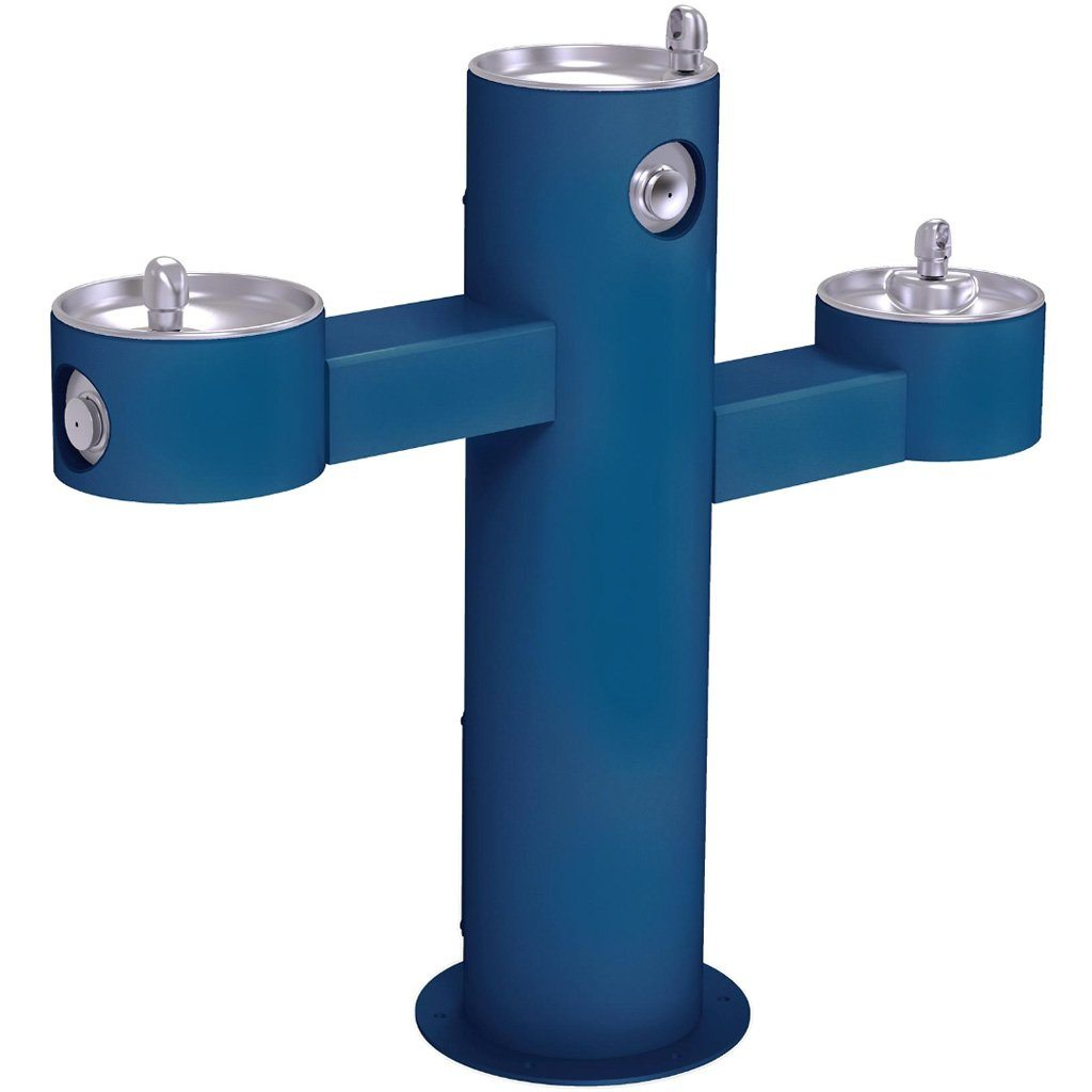 Halsey Taylor Outdoor Drinking Fountain Triple Bowl Blue
