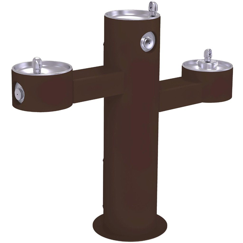 Halsey Taylor Outdoor Drinking Fountain Triple Bowl Brown