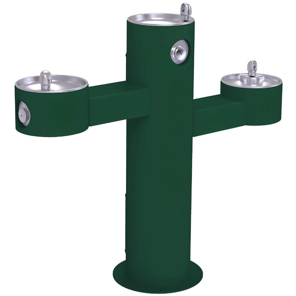 Halsey Taylor Outdoor Drinking Fountain Triple Bowl Evergreen