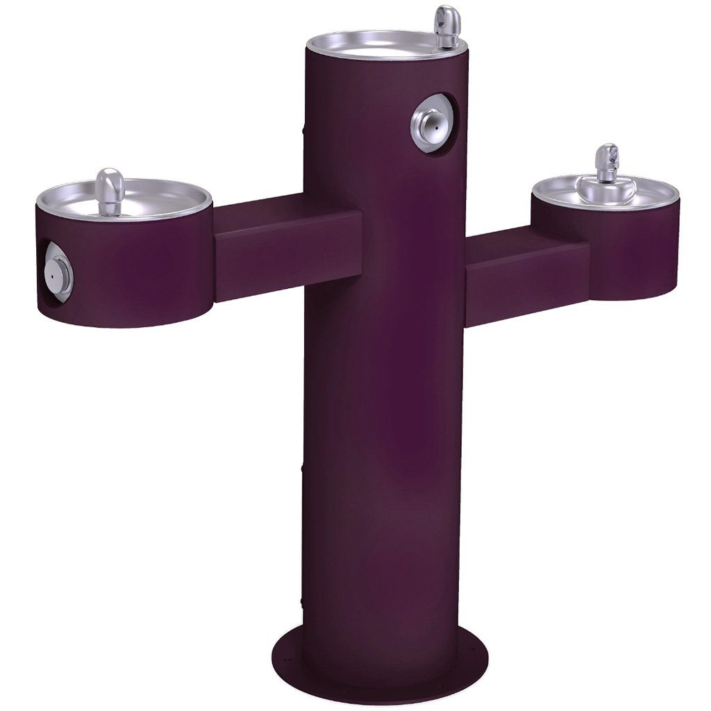 Halsey Taylor Outdoor Drinking Fountain Triple Bowl Purple