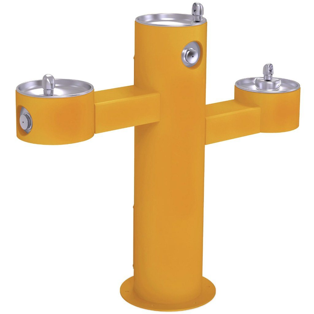 Halsey Taylor Outdoor Drinking Fountain Triple Bowl Yellow