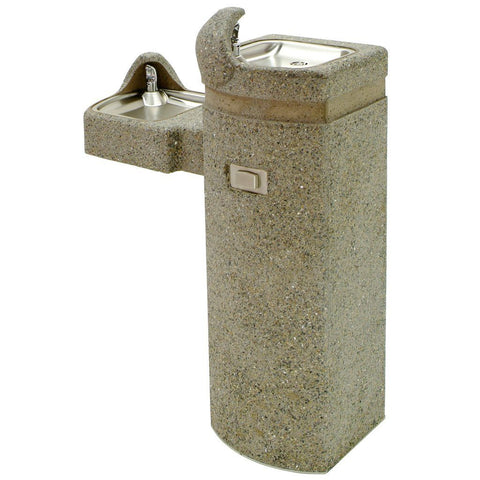 Murdock ADA Bi-Level Pedestal Mounted Square Stone Drinking Fountain