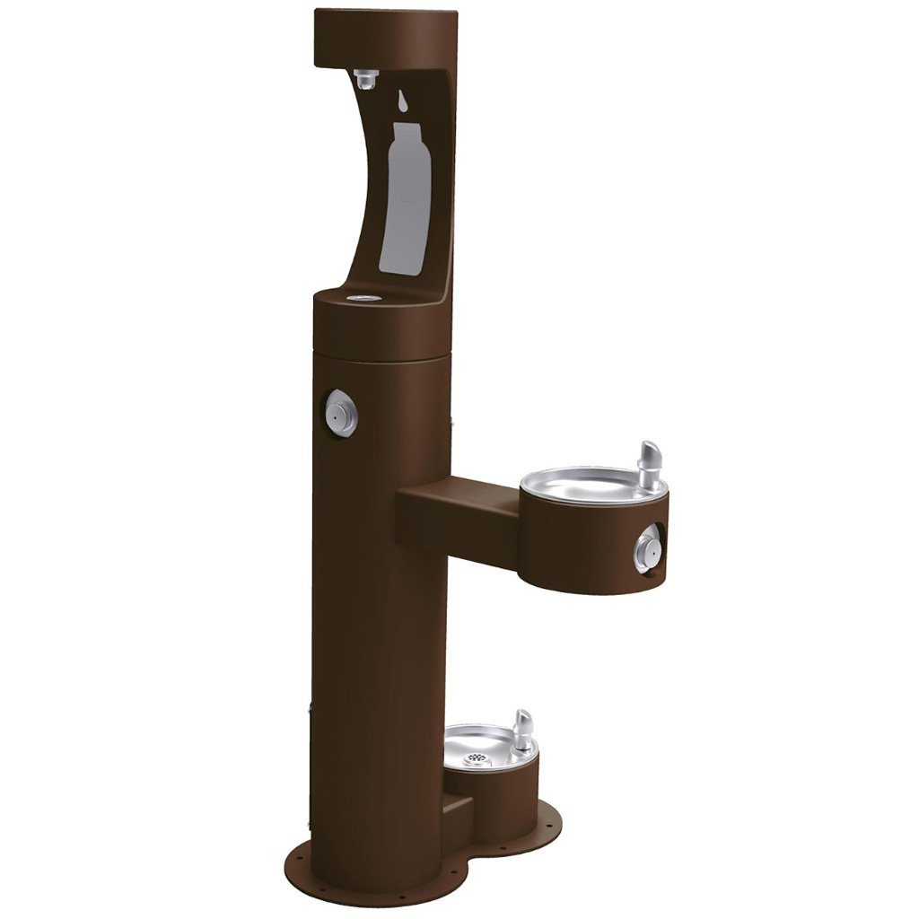 Outdoor Halsey Taylor Fountain with Bottle Filling Station & Pet Fountain Brown