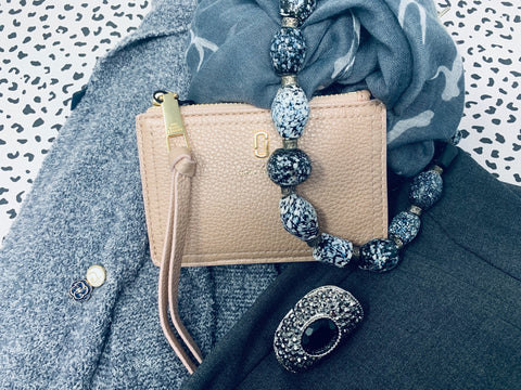 Grey Pattern Infinity Scarf with Marc Jacobs Pink Leather Cardholder