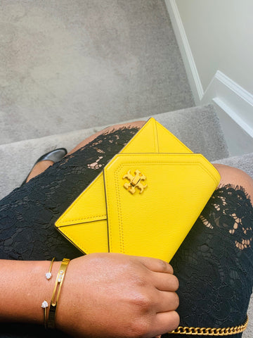 Tory Burch Leather Bright Yellow Clutch Crossbody with Black Lace Dress