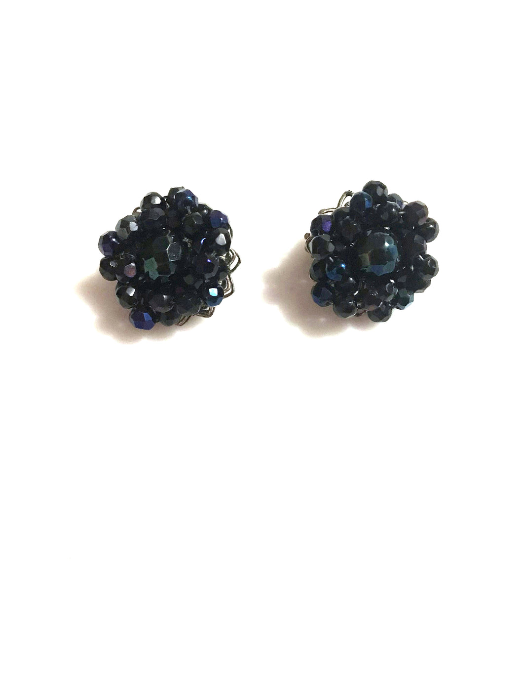 Blue Bead Clip On Earrings