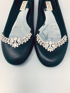 Crystal Shoes Black Leather Ballet Flat