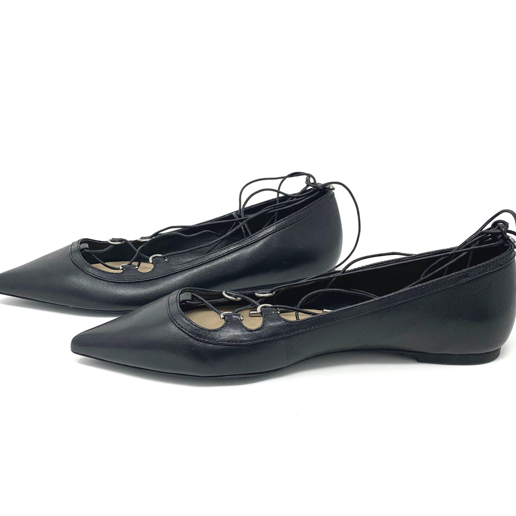 Michael Kors Black Leather Pointed Toe Flats