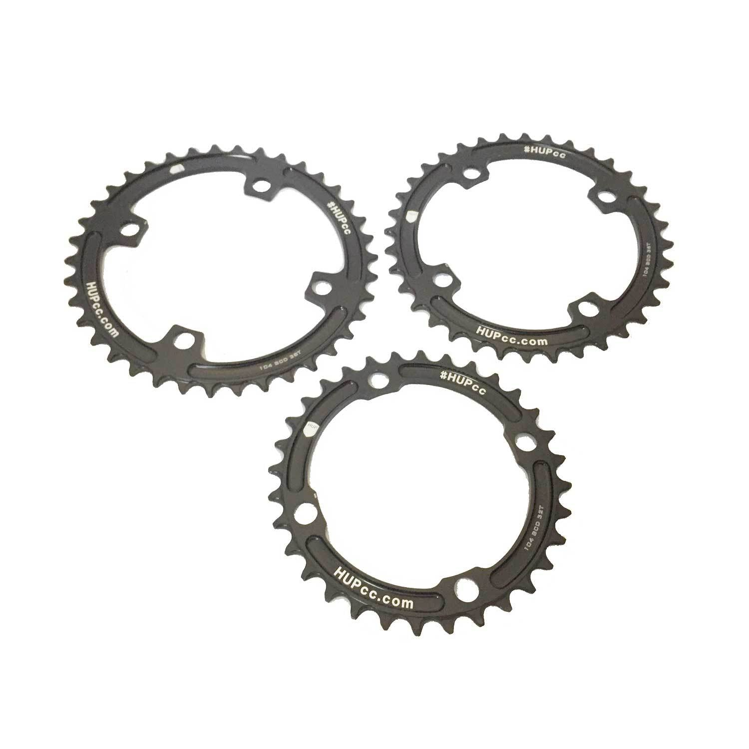 HUP 104bcd 4-Bolt Narrow-Wide Chainring: Kids Road Race/Cyclocross/MTB Race Bikes