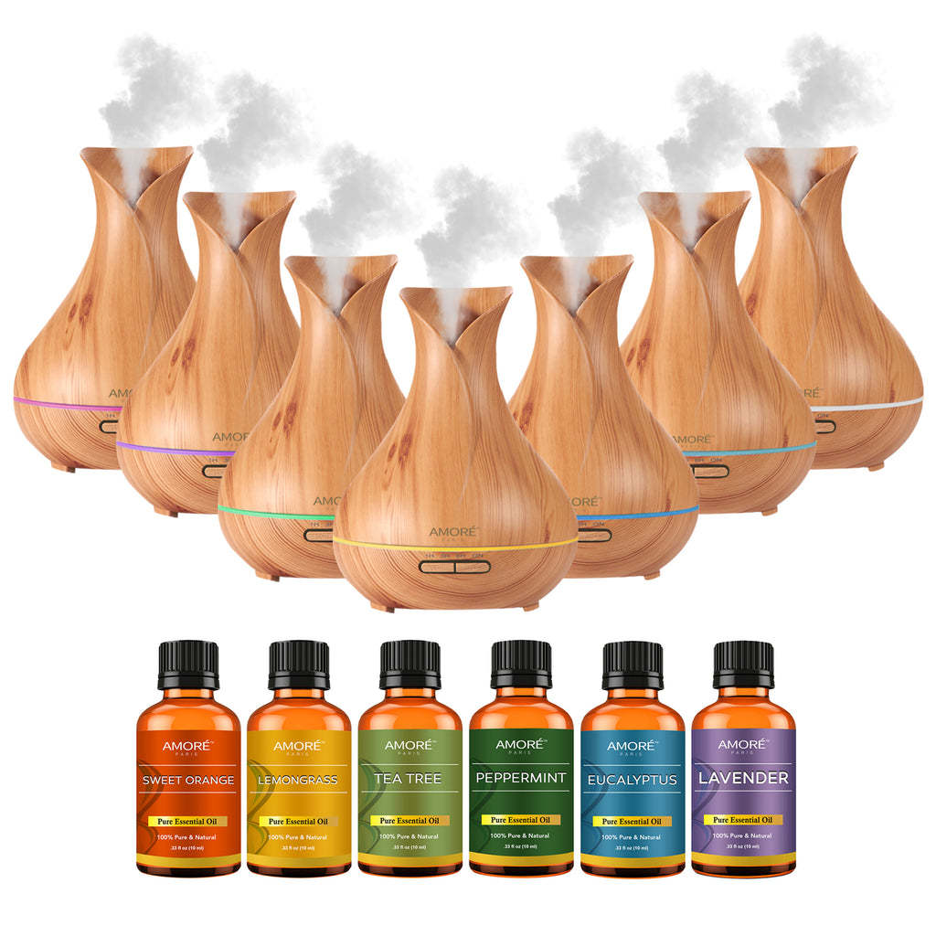 Ultrasonic Essential Oil Diffuser With Essential Oils (7-Pack)