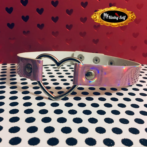 Holographic Pink Vegan Leather Choker