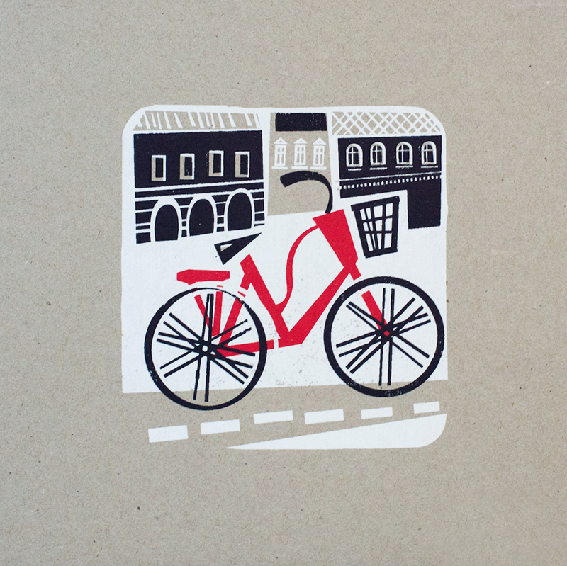 picto pest bike silkscreen print graphics Budapest artwork illustration water-based handmade studio