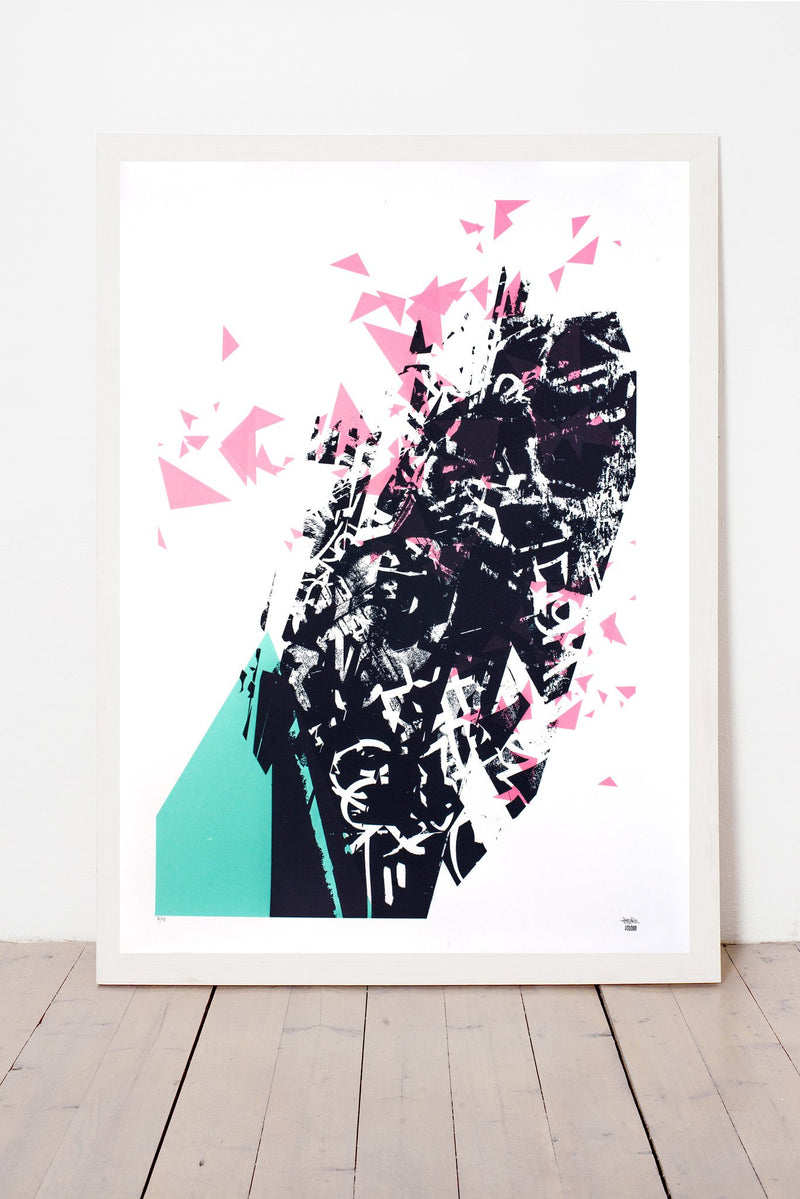 SOMNIUM LIMITED EDITION NUMBERED AND SIGNED GRAPHICS PRINTA HAND-MADE WATER-BASED SILKSCREEN PRINT ON RECYCLED PAPER
