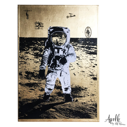 APOLLO NASA Apollo11 Moon A4 neo victorian art victoriana imagery gold gilded artwork retro surreal home decor portraits by amflorence