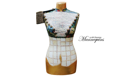 ALISON Mannequin Art Bust w Collectable French Epaulette, bust mannequin art statue home decor contemporary, AM Florence, AMFlorence