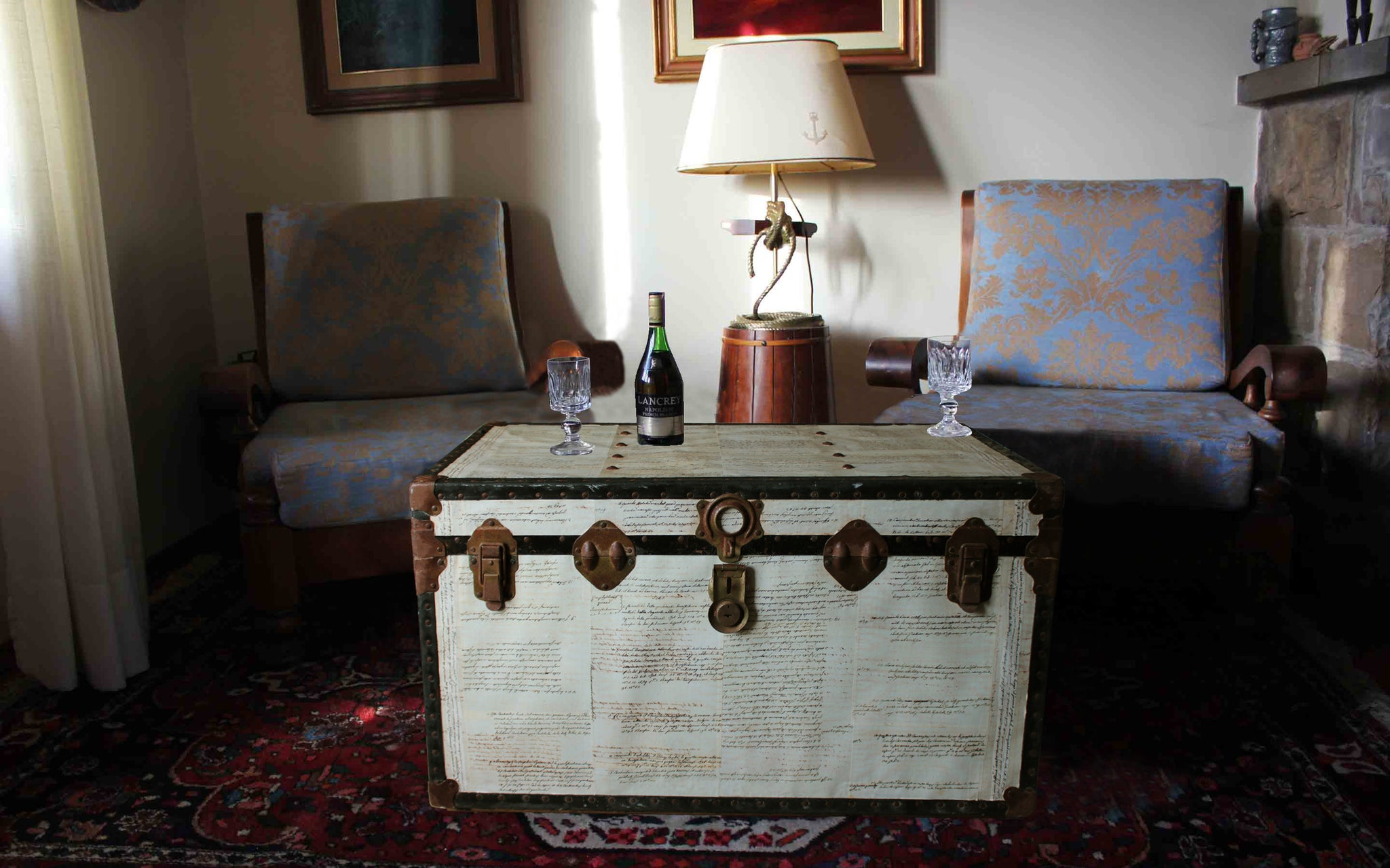 Casablancas Big Size Upcycled Vintage Steamer Trunk Coffee Table