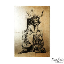 DEER LADY A4 neo victorian art victoriana imagery gold gilded artwork retro surreal home decor portraits by amflorence