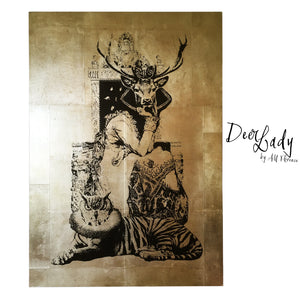 DEER LADY neo victorian art victoriana imagery gold gilded artwork retro surreal home decor portraits by amflorence