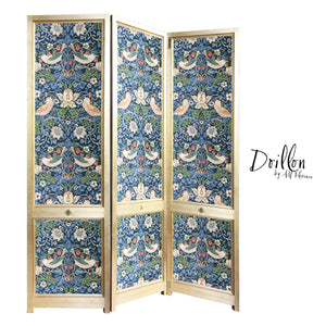 DOILLON vintage Morris Strawberry Thief wallpaper folding screen room divider made of wood decorative partition by amflorence