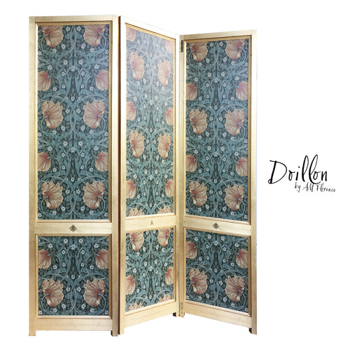 DOILLON vintage Morris wallpaper folding screen room divider made of wood decorative partition by amflorence