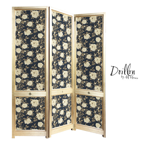 DOILLON vintage Sanderson Peony Tree Midnight Blue wallpaper folding screen room divider made of wood decorative partition by amflorence