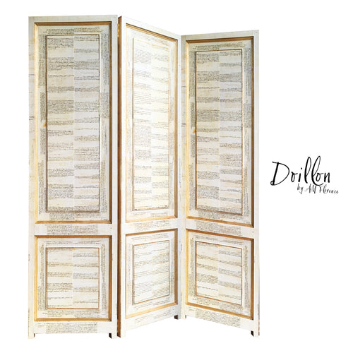 DOILLON vintage folding screen room divider made of wood decorative partition by amflorence