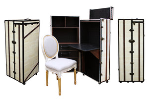 RESERVED - FITZGERALD (Irvine Hotel edition) Desk Cabinet Bookcase Portable Office, steamer trunk cabinet wardrobe desk, AM Florence, AMFlorence