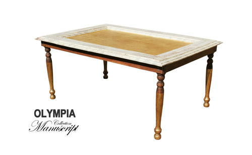 Gold and White vintage style traditional coffee table smart furniture made in London by AM Florence