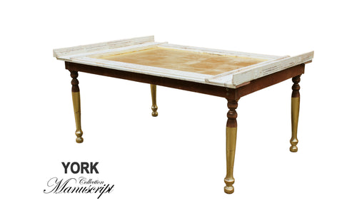 Unique Gold and White vintage style traditional coffee table smart furniture made in London by AM Florence