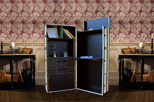 FITZGERALD Desk Cabinet Bookcase Portable Office, steamer trunk cabinet wardrobe desk, AM Florence, AMFlorence