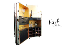 FRANK mid size liquor wine cabinet steamer trunk cocktail bar storage vintage style furniture by amflorence