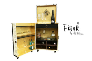 FRANK small portable liquor wine cabinet steamer trunk cocktail bar storage vintage style furniture by amflorence
