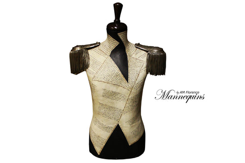 IGGY Mannequin Art Bust w Collectables Epaulettes, bust mannequin art statue home decor contemporary, AM Florence, AMFlorence