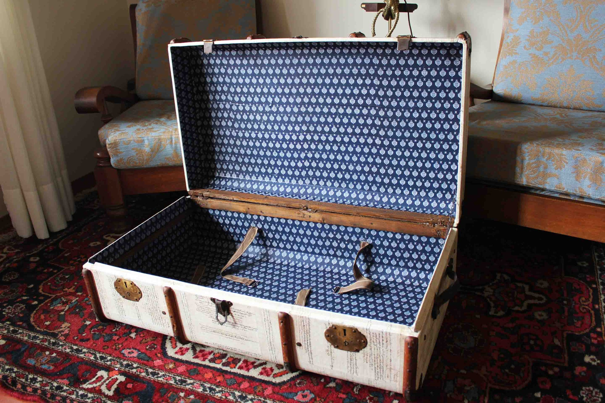 Keith Small Upcycled Vintage Steamer Trunk Coffee Table Amflorence