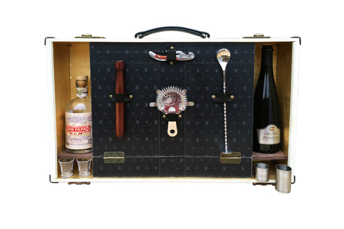Elegant vintage style bar suitcase portable liquor cabinet with Cocktail set for outdoor journeys or to decor your Home