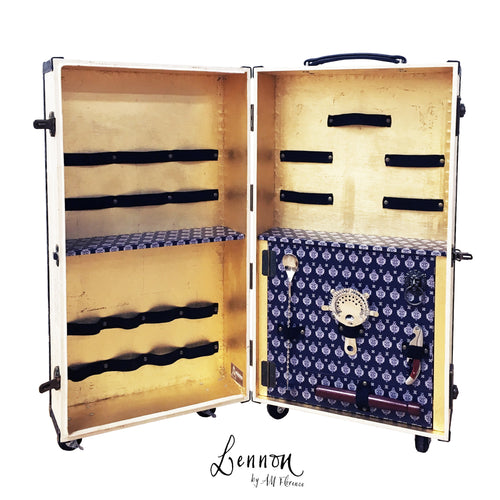 LENNON portable bar suitcase vintage style liquor cabinet trolley cocktail bar by amflorence