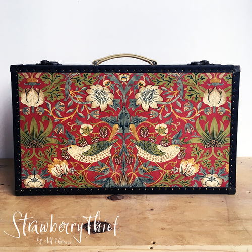 LENNON strawberry thief suitcase vintage style luggage made in London by amflorence front