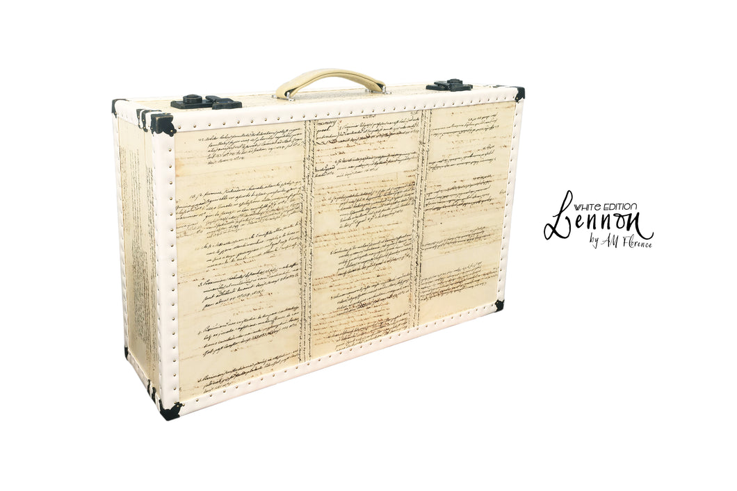 LENNON (white edition) Vintage Style Suitcase Hard Sided Luggage, luggage suitcase hard-sided storage, AM Florence, AMFlorence