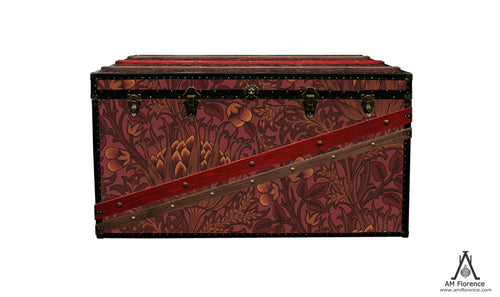 Artichoke Morris wallpaper custom coffee table steamer trunk. Vintage style Storage furniture made in London by AM Florence