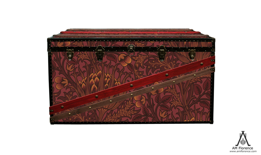 MORRIS Wallpaper Coffee Table Steamer Trunk: Morris Artichoke, Furniture Steamer Trunk Coffee Table Storage Chest, AM Florence, AMFlorence