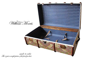 MORRIS Strawberry Thief Wallpaper Upcycled Vintage Steamer Trunk Coffee table, steamer trunk vintage, AM Florence, AMFlorence