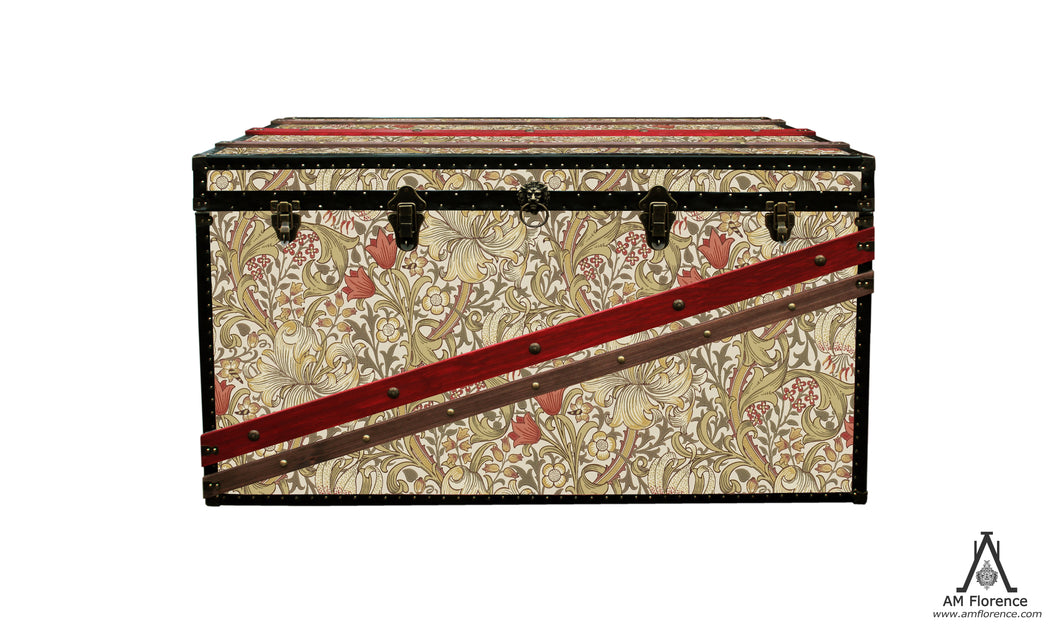 MORRIS Wallpaper Coffee Table Steamer Trunk: Morris GLBB, Furniture Steamer Trunk Coffee Table Storage Chest, AM Florence, AMFlorence