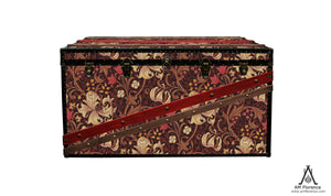 Golden Lily Morris wallpaper custom coffee table steamer trunk. Vintage style Storage furniture made in London by AM Florence