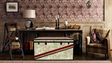 MORRIS Wallpaper Coffee Table Steamer Trunk: Morris GLGR, Furniture Steamer Trunk Coffee Table Storage Chest, AM Florence, AMFlorence