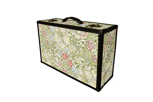 Vintage style unique Morris wallpaper suitcase trunk. This is an elegant storage furniture, luggage or even home decor. Made in London by AM Florence
