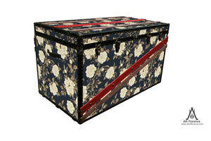 Peony Tree wallpaper coffee table steamer trunk vintage style furniture storage by amflorence london