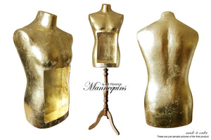 Quirky Gilded Display Mannequin Art Bust Home Decor made in London by AM Florence